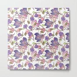Pink And Purple Garden Flower Pattern Metal Print