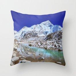 Mount Nuptse view and Mountain landscape view in Sagarmatha National Park, Nepal Himalaya. Throw Pillow