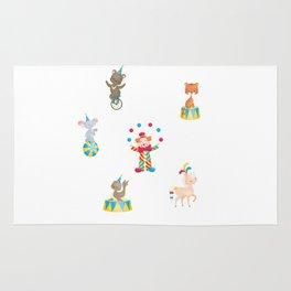 Circus Clown Seal Tiger Bear Horse Elephant Kids Design Rug