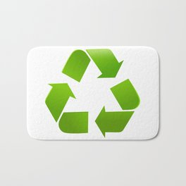 Green Recycle symbol on white background Bath Mat