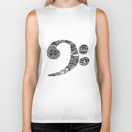 Patterned Bass Clef Biker Tank