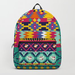 Seamless colorful aztec pattern with birds Backpack