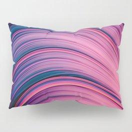 Dream Fiber II. Abstract Blue, Pink, Orange Strands Pillow Sham