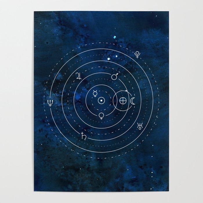 Planets Symbols on Nightsky Poster