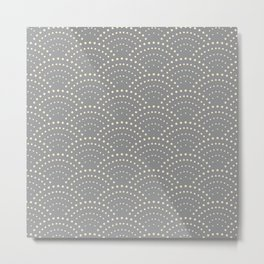 Japanese Wave Seigaiha Super Moon Grey Pattern Metal Print