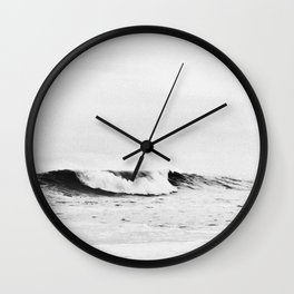 Minimalist Black and White Ocean Wave Photograph Wall Clock