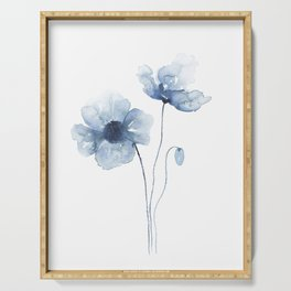 Blue Watercolor Poppies Serving Tray