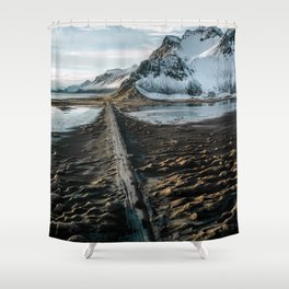 Icelandic black sand beach and mountain road - landscape photography Shower Curtain