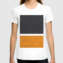 Black Yellow Ochre Rothko Minimalist Mid Century Abstract Color Field Squares T-shirt