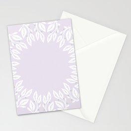 Boho leafy wreath - lavender, mauve Stationery Cards