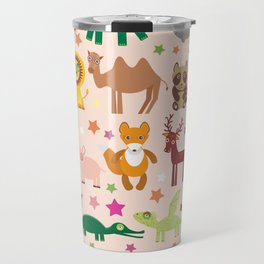 Set of funny cartoon animals character on pink seamless background. zoo. Vector Travel Mug