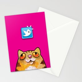 Cat love twitter bir fucsia Stationery Cards