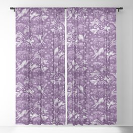 Hares in Snow Field, Winter Animals, Purple Violet White Sheer Curtain