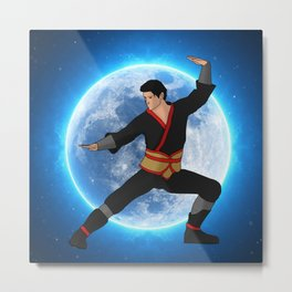 Martial Artist on the Moon Metal Print