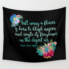 Jane Austen Quote - Flowers on Black Wall Tapestry