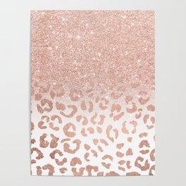 Trendy modern faux rose gold glitter ombre leopard pattern Poster
