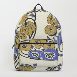 pretty yellow floral pattern Backpack