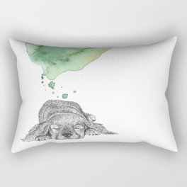 Dreaming Puppy - Green Watercolor Rectangular Pillow
