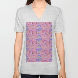 Pastel pink blue green watercolor Christmas typography pattern Unisex V-Neck