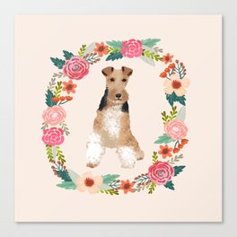 wite fox terrier floral wreath dog breed pure breed pet portrait Canvas Print