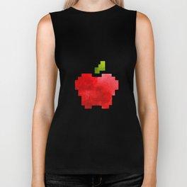 Red Macintosh Apple Watercolor Painting Pixel Digital Art Geometric Fruit Vector Biker Tank