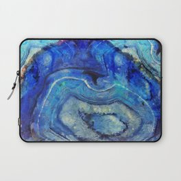 Blue agate texture digital art Laptop Sleeve