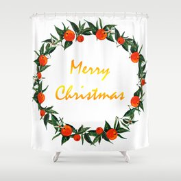 Christmas wreath with oranges Shower Curtain