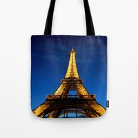 eiffel Tote Bags featuring Eiffel by Heather Hartley