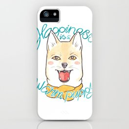 Happiness is a Warm Puppy // Shiba Inu Dog in a Scarf Watercolor Illustration iPhone Case