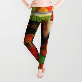 The Flowered Canoe by Diego Rivera Leggings