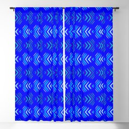 Pattern of intersecting hearts and stripes on a blue background. Blackout Curtain