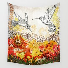 Hummingbird Garden Wall Tapestry