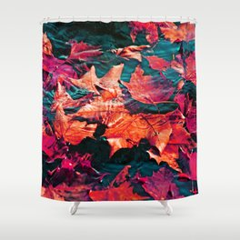 Colorfull Autumn water leaves Shower Curtain
