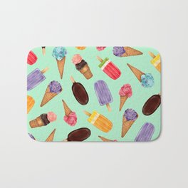 Pastel green Ice Cream cones Pattern   Ice cream and popsicle summer pattern Bath Mat