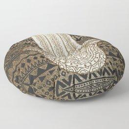 Native Pattern Golden Hamsa Hand Floor Pillow