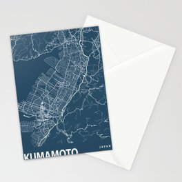 Kumamoto Blueprint Street Map, Kumamoto Colour Map Prints Stationery Cards
