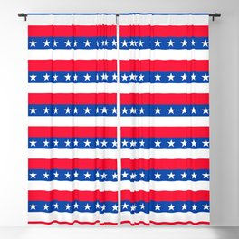 Red White Blue Stars Stripes Patriotic Blackout Curtain