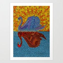Mirrored Swan Colored Art Print
