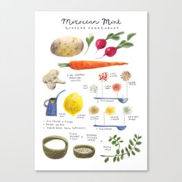 illustrated recipes: moroccan mint vegetables Canvas Print