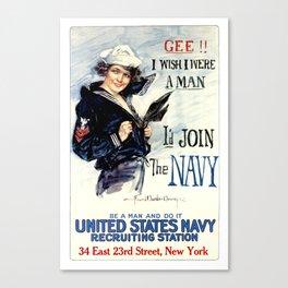 Vintage U.S. Navy Recruitment Poster Canvas Print