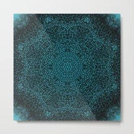 Blue Sunflower Mandala Metal Print