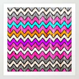 Andes Tribal Aztec Pink chevron Ikat wood pattern Art Print