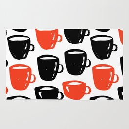 Quirky cool coffee cups pattern Rug