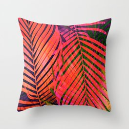 COLORFUL TROPICAL LEAVES no2 Throw Pillow