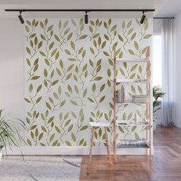 Leafy Twigs - Gold Wall Mural