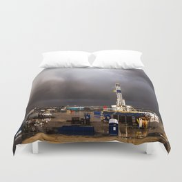 Oil Rig - Storm Passes Behind Derrick in Central Oklahoma Duvet Cover