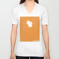 wisconsin V-neck T-shirts featuring Wisconsin Minimalist Vintage Map by Finlay McNevin