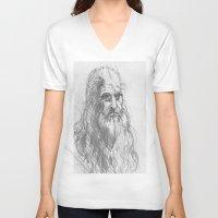 leonardo V-neck T-shirts featuring Leonardo by Kathryn Gabrielle Mauno