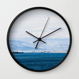 Lake and Mountain Cap // Grainy Foggy Blue Landscape Photography in Beautiful Oregon Wall Clock