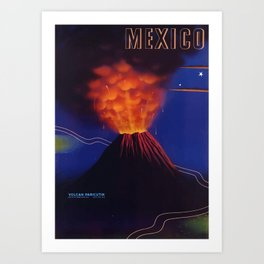 Vintage travel poster - Volcano Parícutin , Mexico Art Print